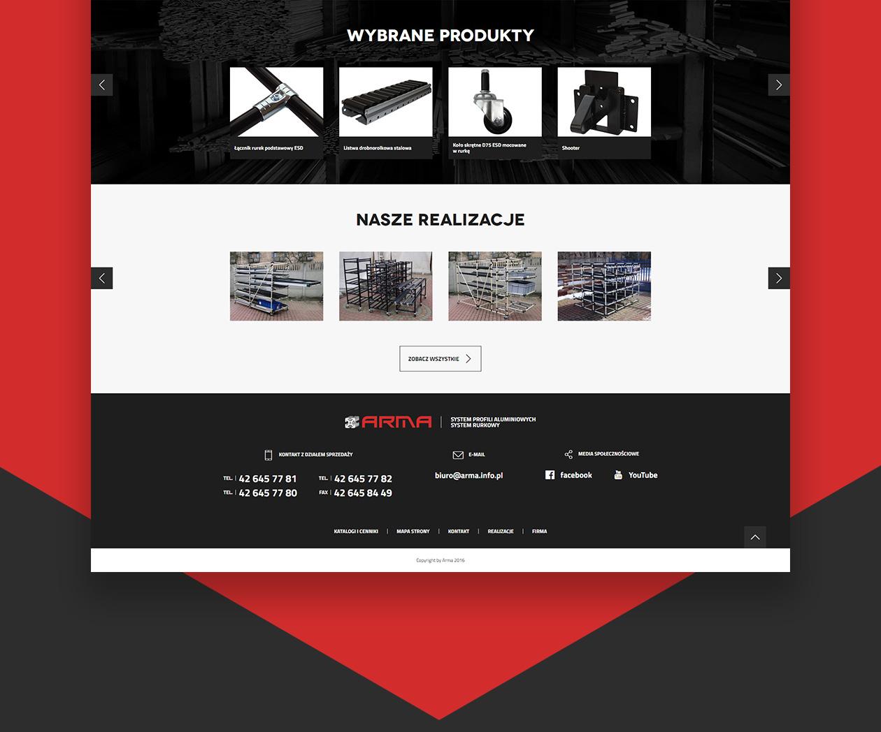 Projekt strony internetowej Arma