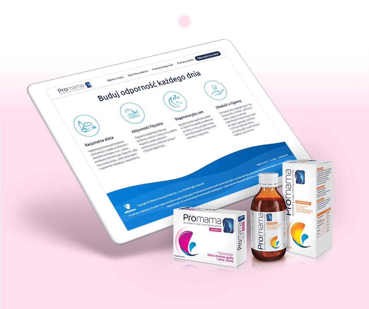 Promama - strona produktowa zrealizowana przez Quality Pixels